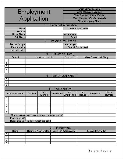 Free Numbered Row Personalized Job Application from Formville
