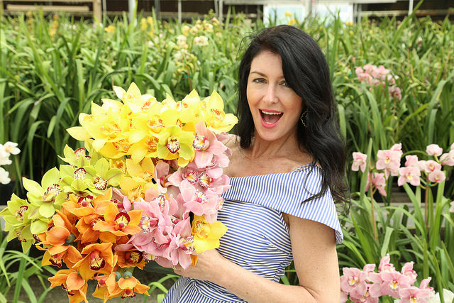 Debi Lilly had her hands full while designing with some amazing Certified American Grown orchids at Gallup & Stribling Orchids in Carpinteria, CA. Debi will be the featured designer on April 26th for the American Grown Field to Vase Dinner at the Flower Fi