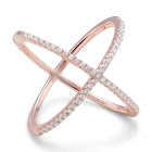 AzureBella Jewelry Criss Cross x Design Ring Rose Gold-Plated Sterling Silver Cubic Zirconia