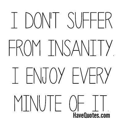 I Dont Suffer From Insanity I Enjoy Every Minute Of It Quote Life