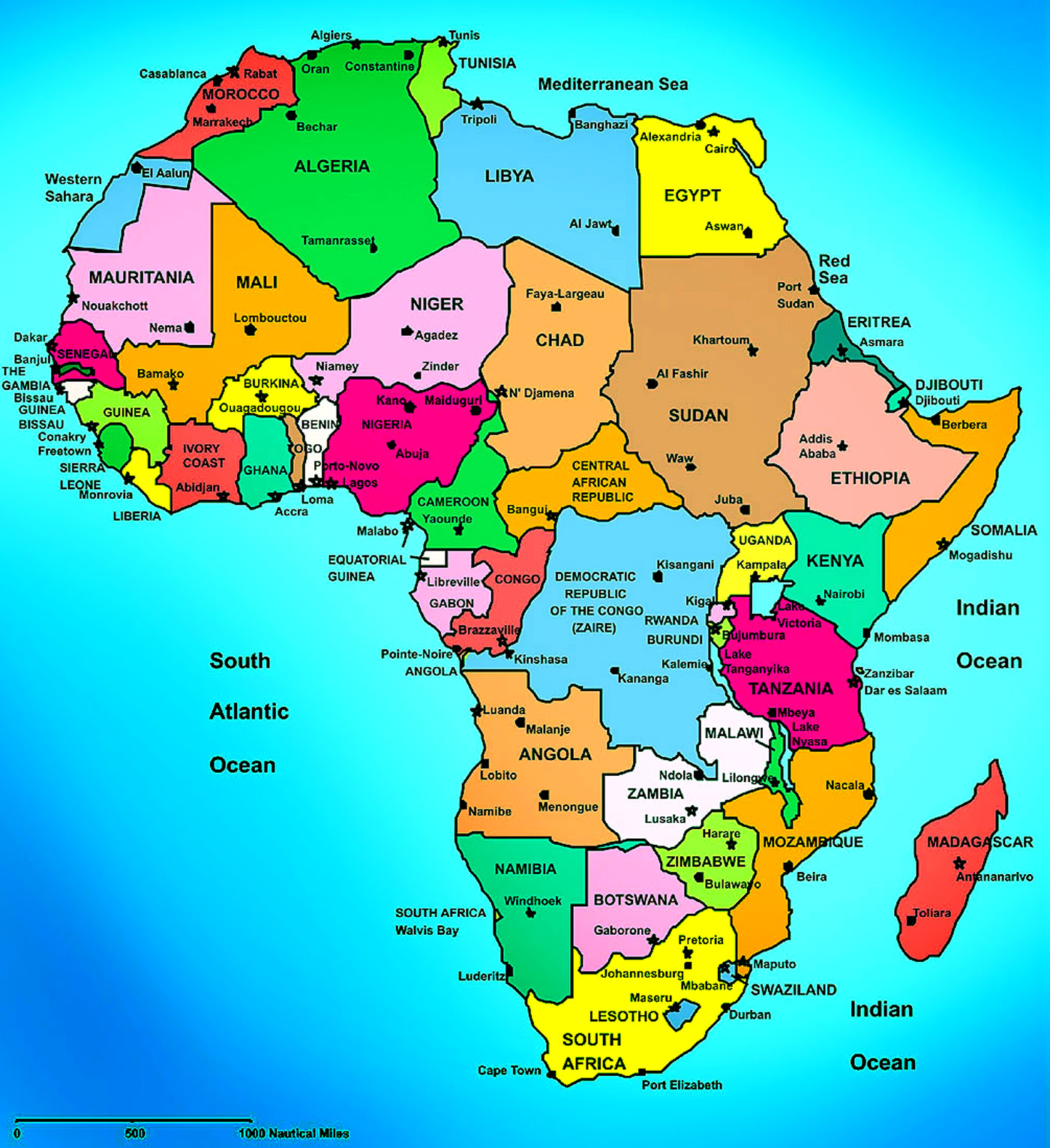 Africa Map Cities Of Africa Map