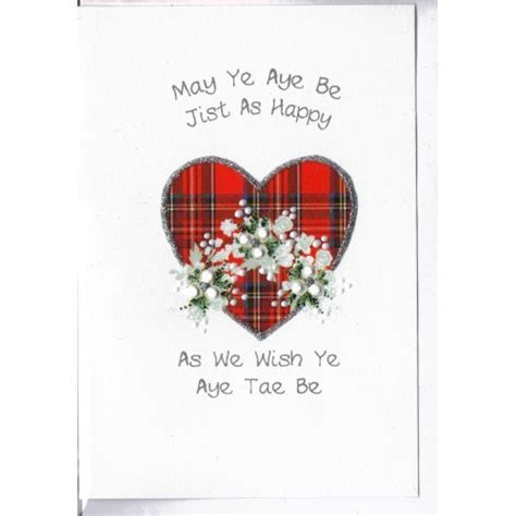 Scottish Wedding Card Tartan Heart WWWE54   Wedding Cards UK
