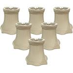 Royal Designs Beige Square Bell 5-inch Decorative Trim Chandelier Lamp Shades (Set of 6)