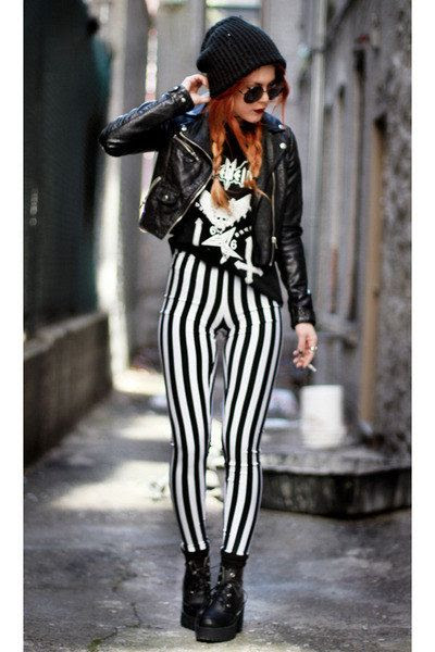 what to wear with black and white striped pants outfits