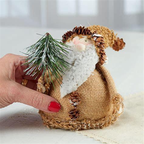 Rustic Roly Poly Burlap Santa   Christmas and Holiday