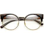 Womens Half Frame Semi-Rimless Clear Lens Cat eye Round Glasses, Tortoise-Gold