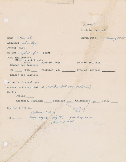 Steve Jobs Employment Questionnaire Sold for $174,757 at Auction