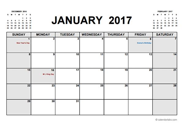 2017 Printable Calendar PDF - Free Printable Templates