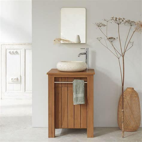 meuble de salle de bain en bois de teck  cm