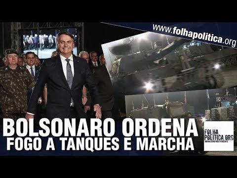 Bolsonaro marcha à frente de militares, ordena fogo a tanque de guerra e é ovacionado por multidão em cerimônia do Exército Brasileiro