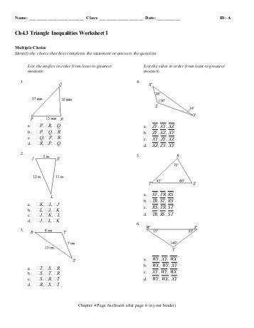 Triangle Inequality theorem Worksheet  Homeschooldressage.com