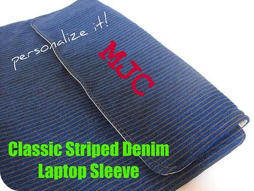 Classic Stripe Denim Laptop Sleeve 2