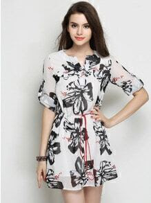 Black White Half Sleeve Floral Chiffon Dress