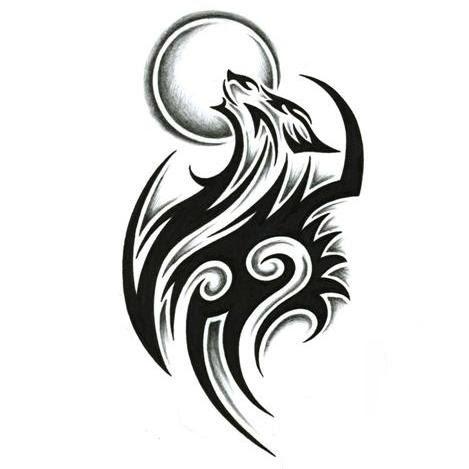 Fine Black Tribal Wolf Tattoo Design