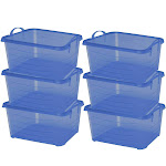 Life Story Blue Stackable Closet & Storage Box 55 Quart Containers 6 Pack