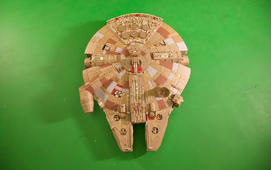Man Builds a Highly Detailed Five-Foot Long Millennium Falcon Model Out of Cardboard in 140 Hours