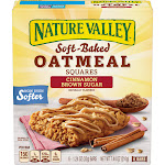 Nature Valley Soft-Baked Oatmeal Squares, Cinnamon Brown Sugar - 6 count, 1.24 oz bars