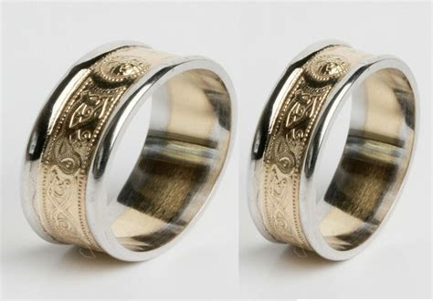 10k Gold Irish Handcrafted Irish Celtic Wedding Ring Set