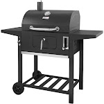 BBQ Charcoal Grill 24 in. 2-Side Table Locking Lid/Door Storage-Warming Rack