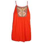 Inc International Concepts Cosmic Orange Embellished Halter Top L