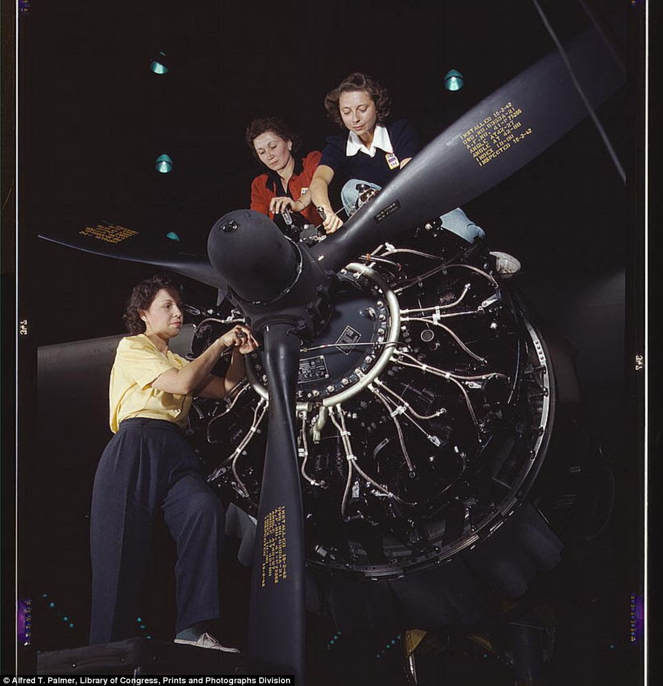 Concentration: Women at work on C-47 Douglas cargo transport, Douglas Aircraft Company, Long Beach, California in October 1942