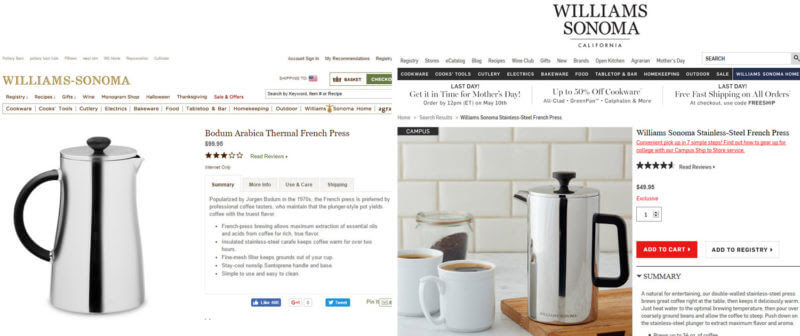 Bodum v. Williams Sonoma lawsuit - comparison of Bodum and WS french press product pages.