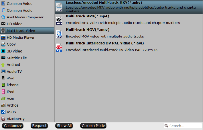 Output lossless multi-track MKV format with 7.1 audio