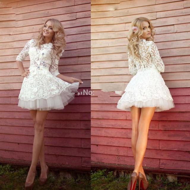 sexy beach short mini wedding dresses summer 2015 sheer