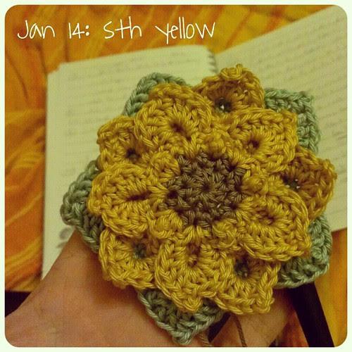 Jan 14: something #yellow .. #crochet #flower .. #fmsphotoaday