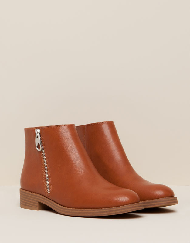 Pull&Bear - mujer - zapatos mujer - botín cremallera lateral - cuero - 15210011-I2015
