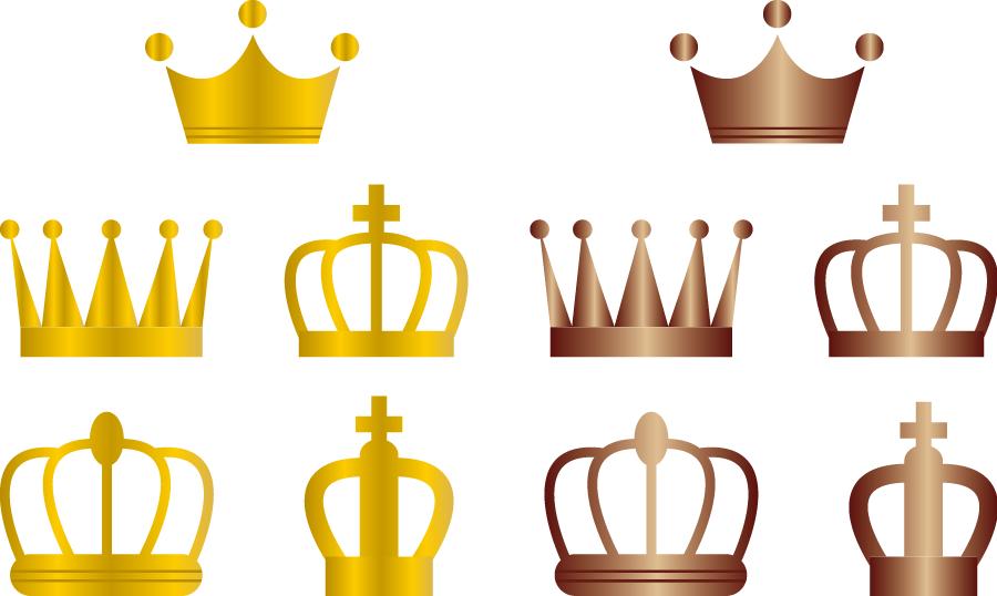フリーイラスト 10種類のゴールドとブロンズの王冠のセットでアハ体験