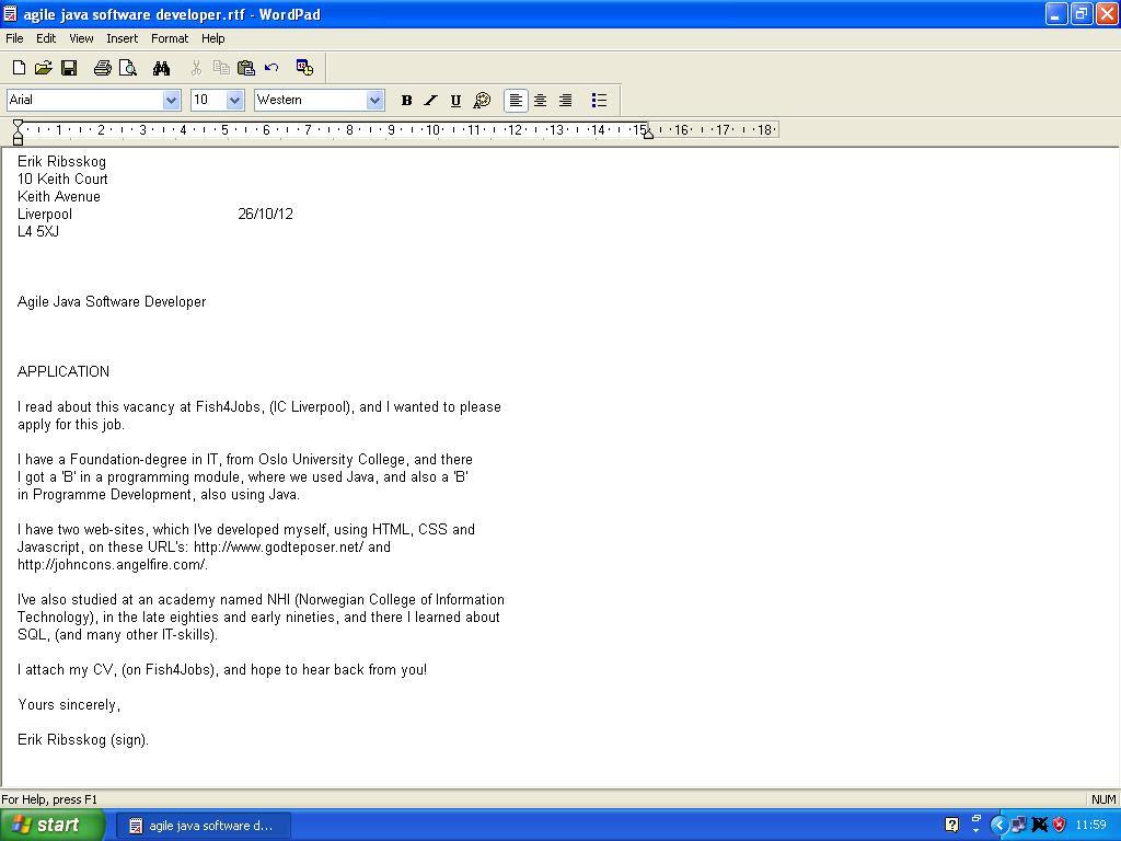 cover letter java jobb