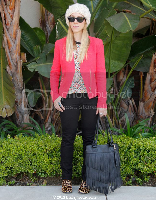 Mossimo red tweed blazer, James Jeans couture collection, Topshop Ava leopard boots, batik print top, Los Angeles fashion blog