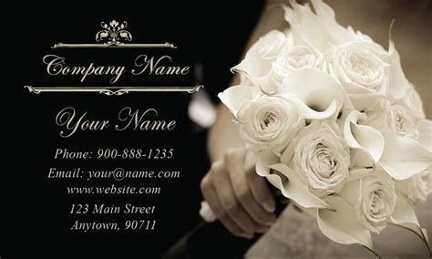 Black and White Wedding Bouquet Business Card   Design #701101