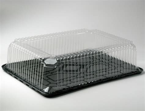1/2 Sheet Cake Container Clear Dome with Black Base Super