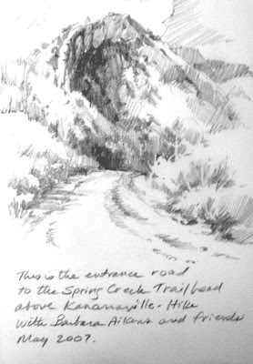 Roland Lee drawing of trailhead to Spring Creek near Kanarraville