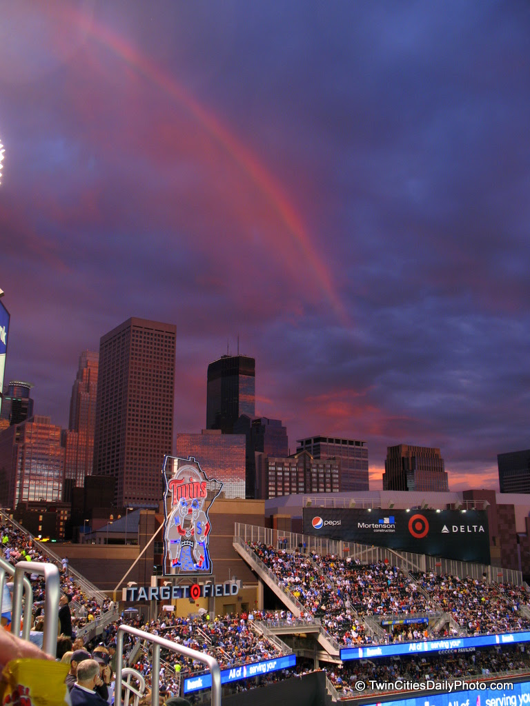 I made it to my first Minnesota Twins baseball game in our new outdoor stadium. During the course of the evening, I was present with this fabulous rainbow to take photos of, darn the luck!