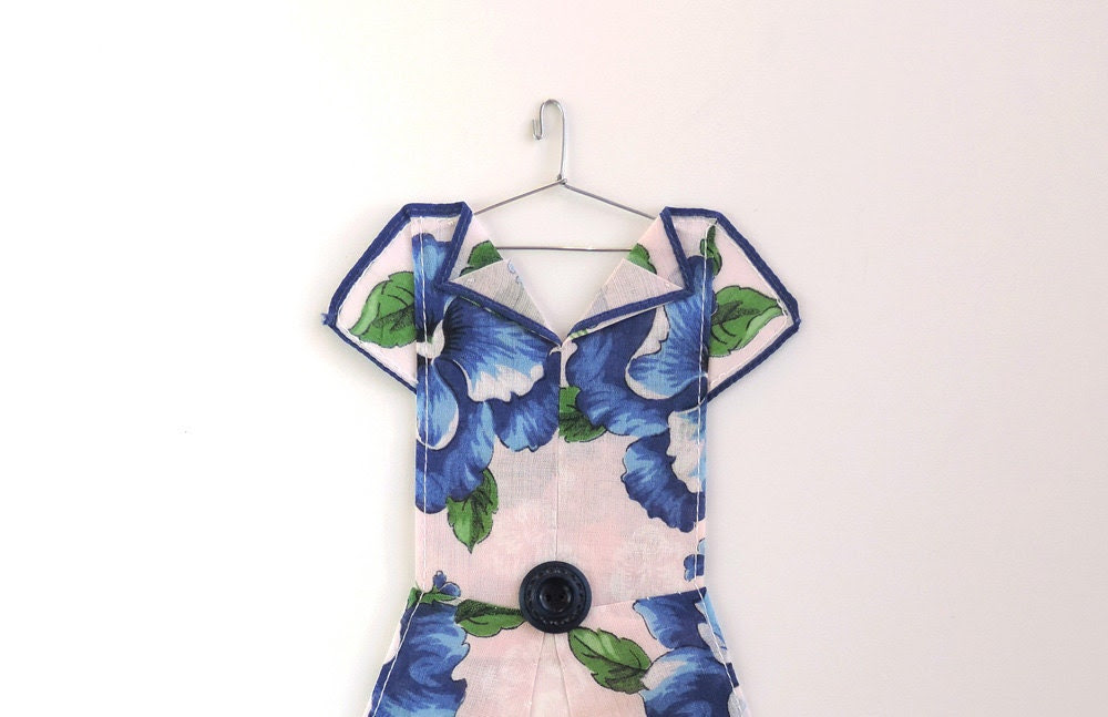 Hanky Dress made from Blue Pansy Handkerchief - HankyDresses