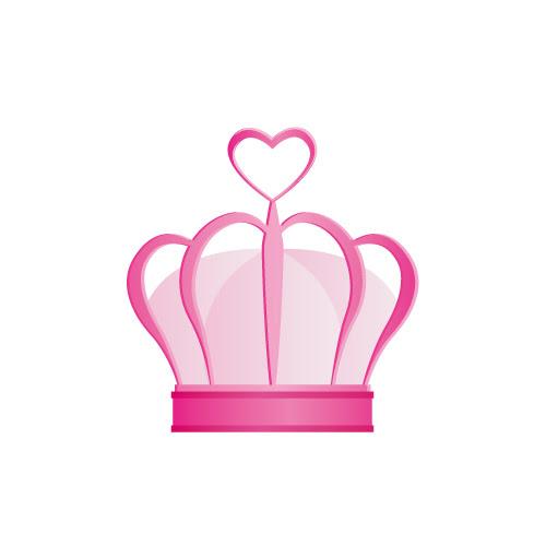 ピンクのハートが飾られた王冠イラスト 無料商用可能王冠