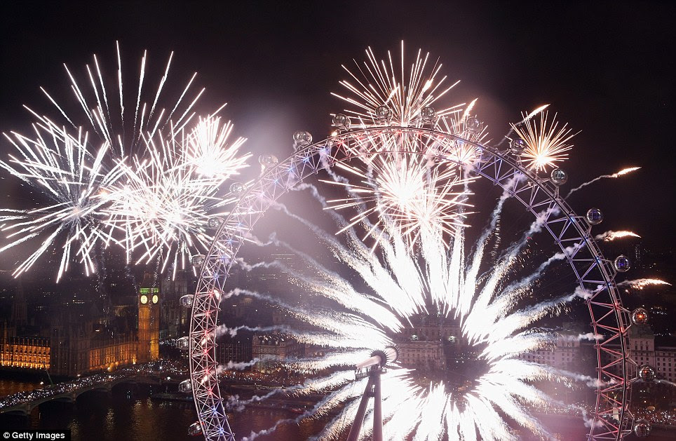 Popular: The banks of the River Thames near Parliament in central London were packed with thousands of happy revellers