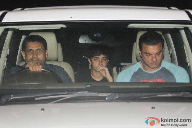 Sohail khan with son Nirvaan khan spotted at Salman Khan's House