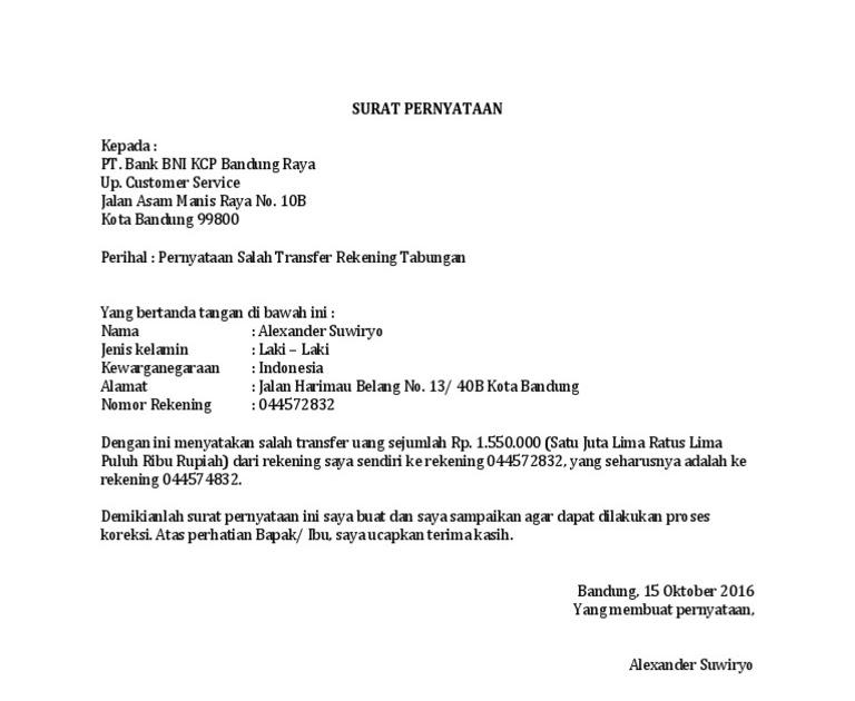 34+ Contoh surat pernyataan salah transfer terbaru terbaru