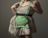 Fish Purse, Fish Bag, Green, Bright, Hipster, Kawaii, Cute Purse, Summer Purse, Cotton Purse, Teen Fashion - Marewo