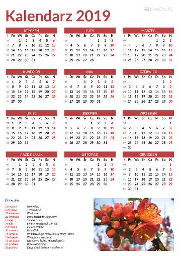 Kalendarz 2019 Do Druku Za Darmo Plik Pdf I Jpg