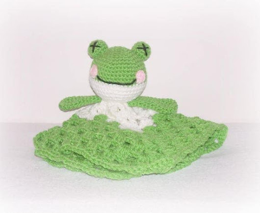 Green Frog Blanket Lovey Green White Crochet Frog Security