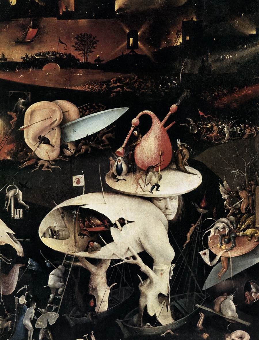 The Garden of Earthly Delights [detail] Date between 1480 and 1505 Medium oil on panel (via Wikimedia commons) (click to enlarge)