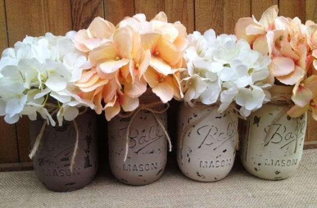 Pint Painted Mason Jarsvintagerustic Home Decorwedding