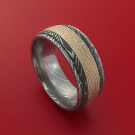 Damascus Steel Ring with 14k Rose Gold and White Gold with