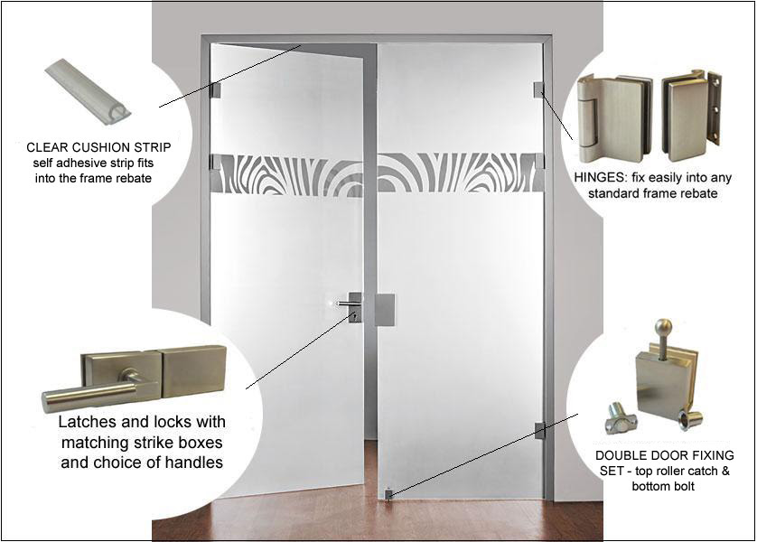full glass double doors annotated image