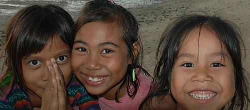 Three faces: kids at Lembongan Island